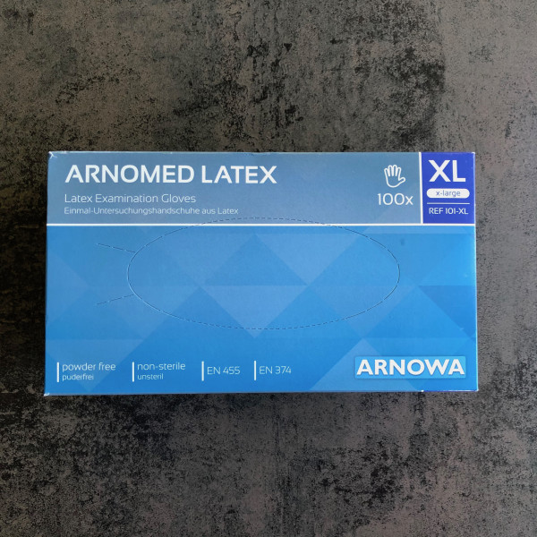 EINWEGHANDSCHUHE ANDROMED LATEX - 100 Stück Größe XL