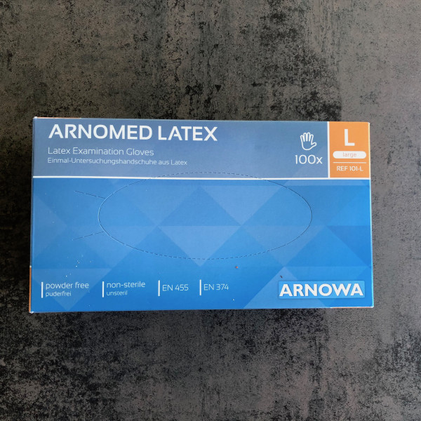 EINWEGHANDSCHUHE ANDROMED LATEX - 100 Stück Größe L