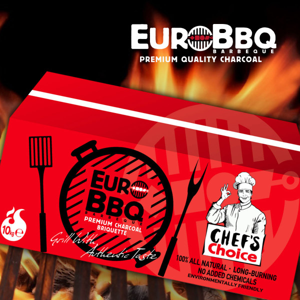 EURO-BBQ CHEFS CHARCOAL BRIQUETTE RED.